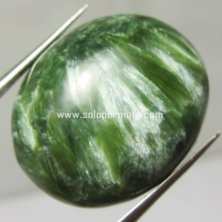 Batu Green Seraphinite Bulu monyet -Kode  06A02