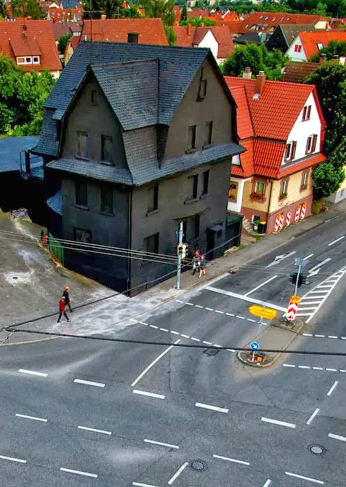 All black house Möhringen district of Stuttgart (Germany).
