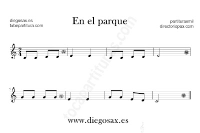 En el parque partitura para flauta, violín, saxofón alto, trompeta, clarinete, soprano sax, tenor, oboe, corno inglés, trompa, fliscorno... en clave de Sol