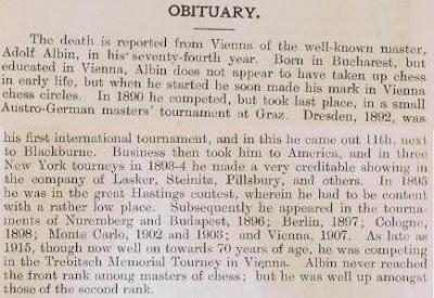 Obituario de Adolf Albin en British Chess Magazine