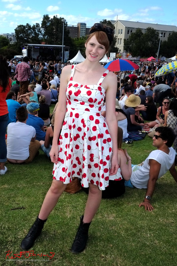 Cherry Dress, Red Hair & festival crowd, Newtown style, Newtown Festival, Fujifilm X-Pro1,