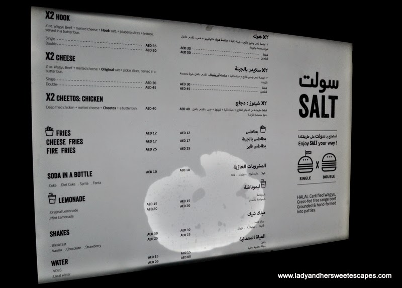 SALT food truck menu
