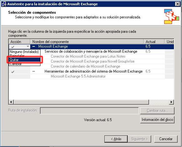 Asistente para la instalación de Microsoft Exchange - Selección de componentes.