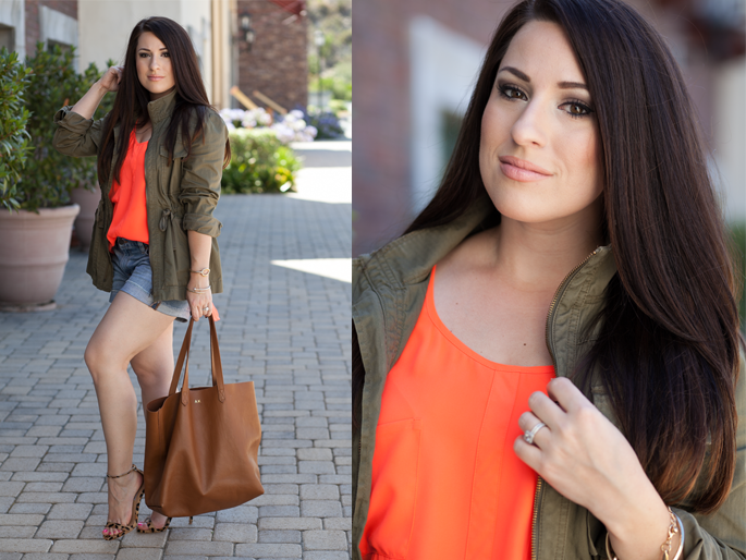 envy my hair extensions, cuyana tote, jcrew utility jacket, le tote top, steve madden stecy sandal