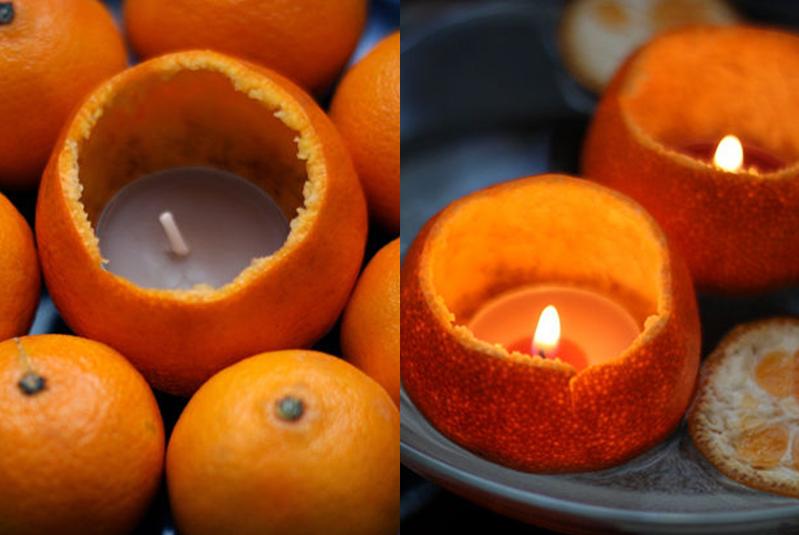 dekoracje świąteczne świeczki w pomarańczy