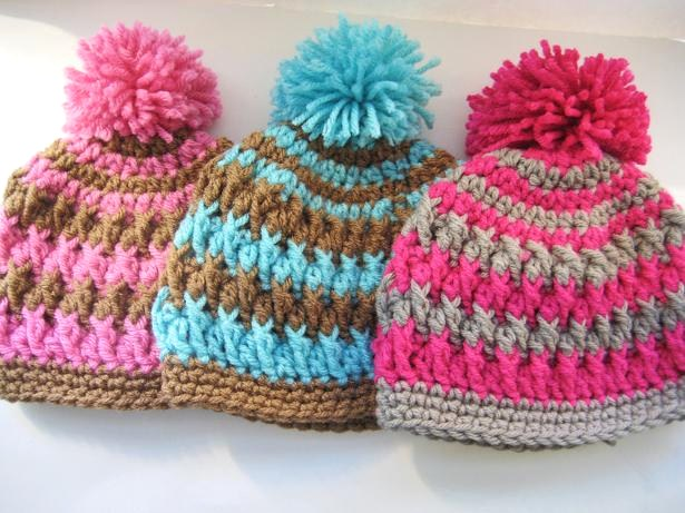 Crochet Pattern Newborn Girl Hat : Crochet Dreamz: Pom Pom Beanie for Boy or Girl - Crochet ...