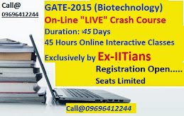 "Join 45 Days On-Line ""LIVE"" Crash Course for GATE-Biotechnology-2015"
