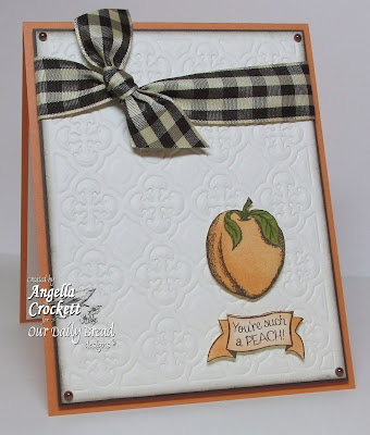 "ODBD ""Peaches"", ""Quatrefoil Pattern Die"" Card Designer Angie Crockett"