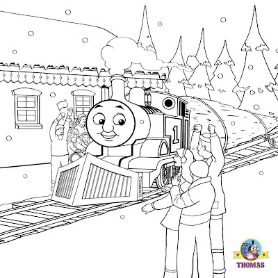 Snowy day coloring sheets for Thomas the train christmas coloring pages