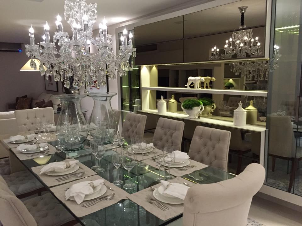 Cozinha Com Sala De Jantar De Luxo ~ Sala de jantar off white com lustre de cristais clássico lindo