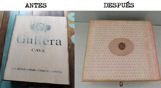 Antes y después caja de vino