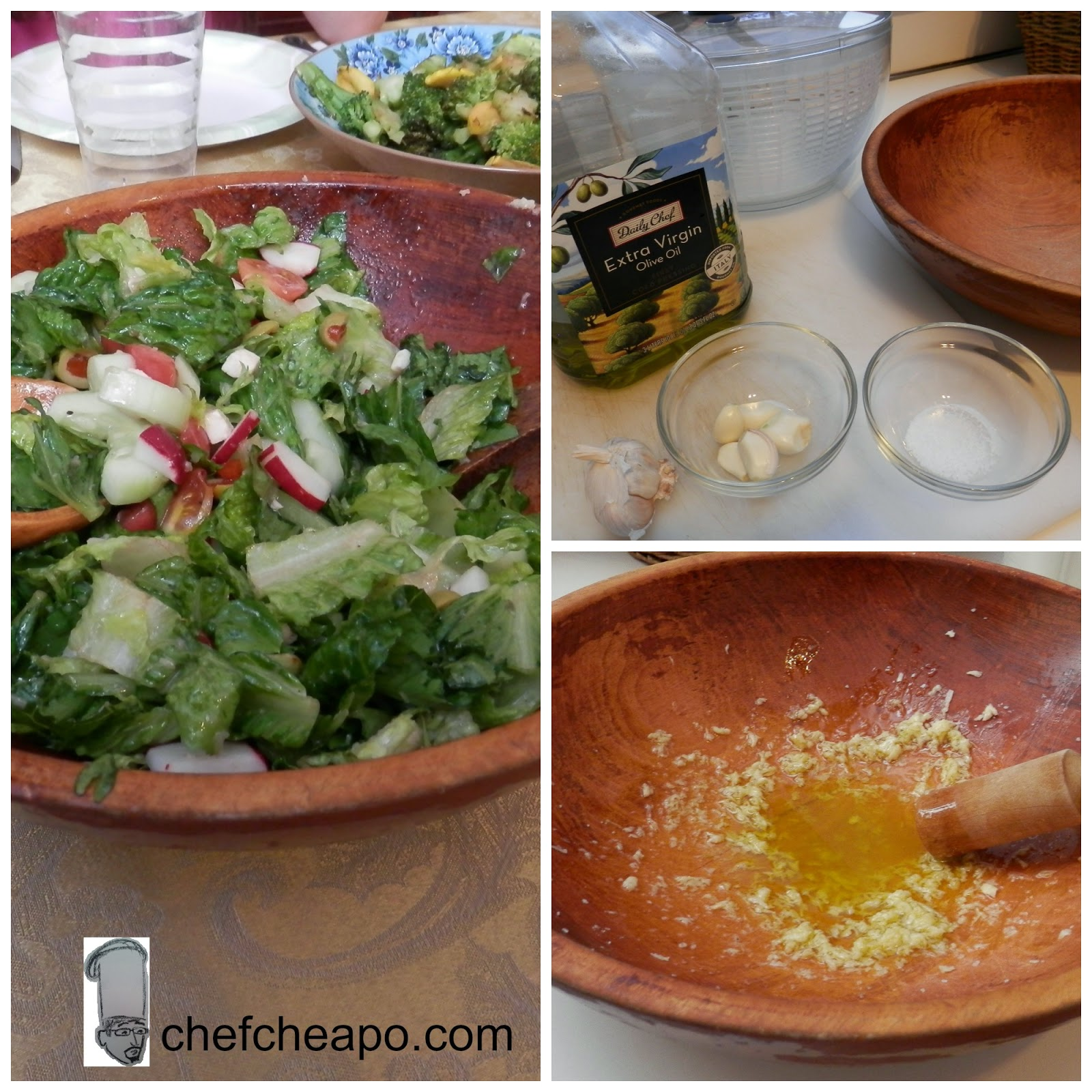 homemade all-natural garlic and olive oil dressing for salad