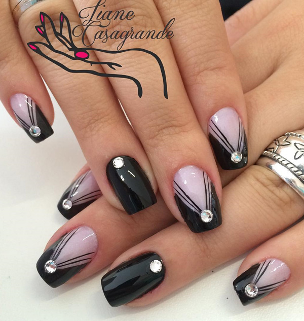 40 black nail art ideas fashion hippoo v line ensemble a rather catchy looking nail art design that uses clear coat and black polish and youre done simply choose designs that you can easily prinsesfo Images