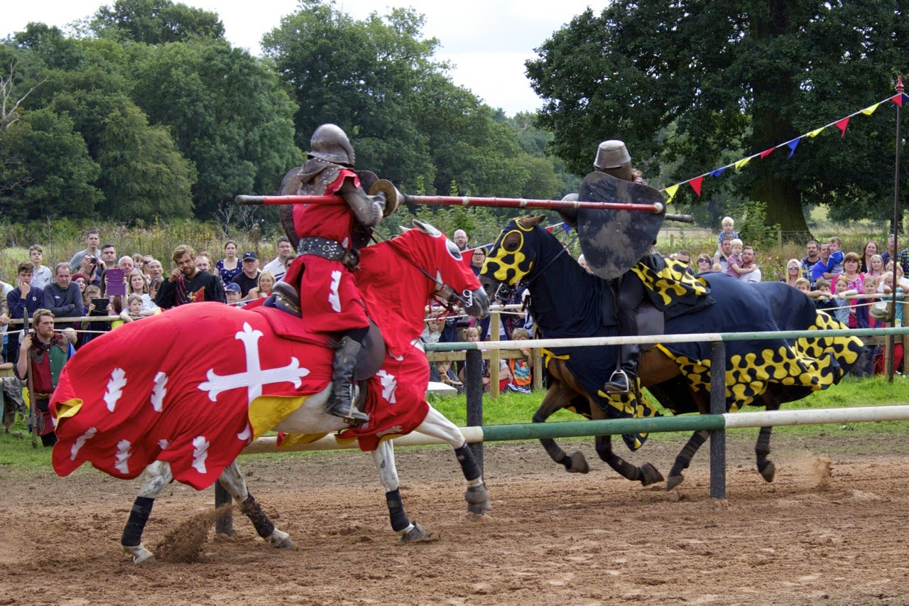 two knights on horses joustings