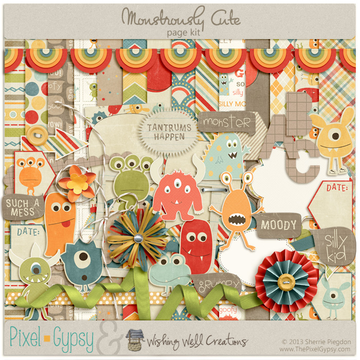 Monstrously Cute Digital Scrapbooking Page Kit
