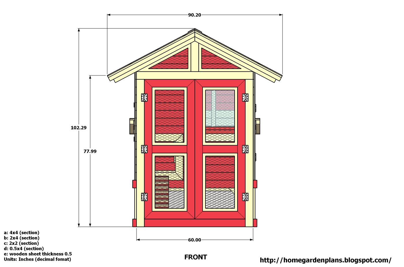 Home garden plans m102 chicken coop plans how to for Chicken coop dimensions