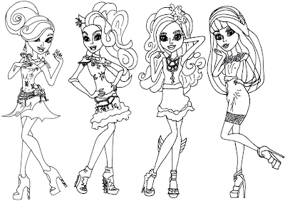 Free Monster High Coloring Page For Draculaura Clawdeen Wolf Lagoona Blue And Cleo De Nile In Black Carpet Frights Camera Action Hauntlywood