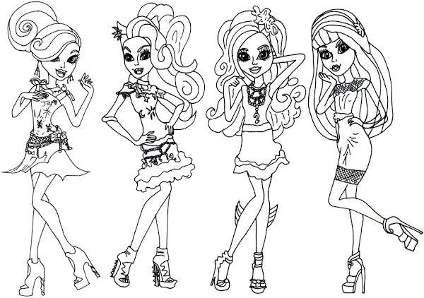Monster High Characters And Pets Coloring Pages coloringdownload