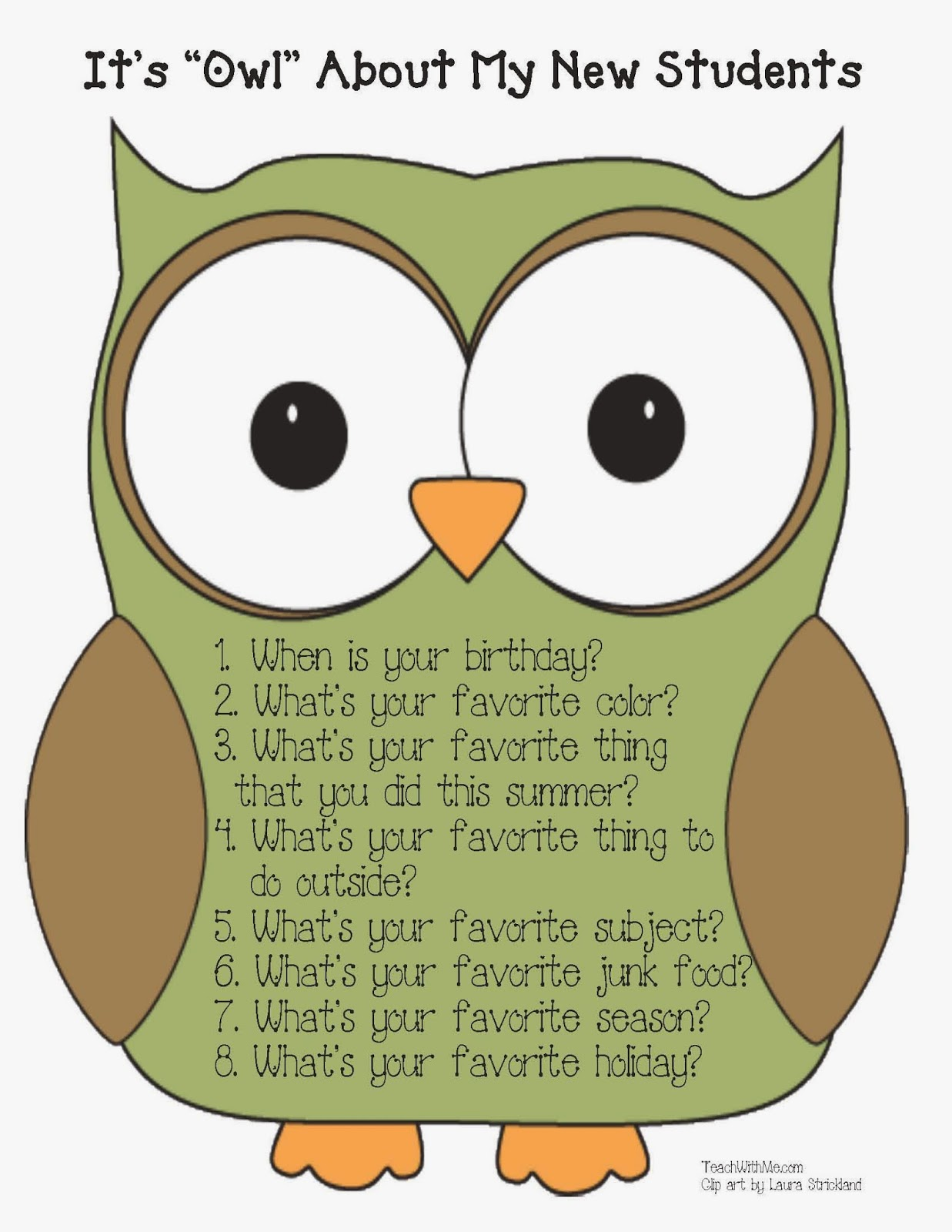 ve provided a large owl with the questions; you can display it in ...