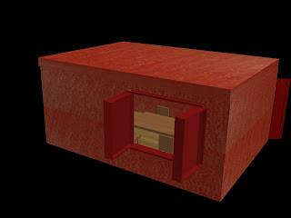 Sala de jantar em 3D vista da janela