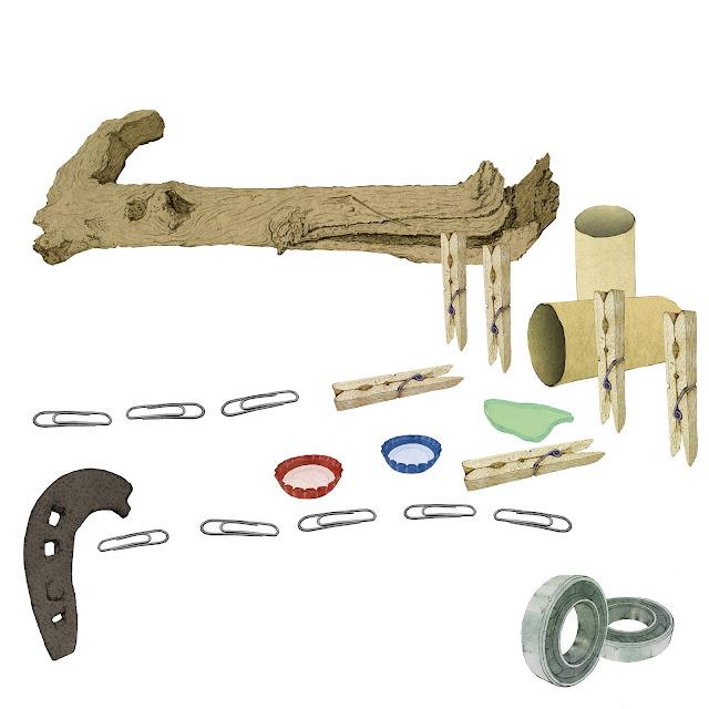 palos, pinzas, clips, chapas, no juguetes, (en francés objet trouvé; en inglés, found art o ready-made) dibujo