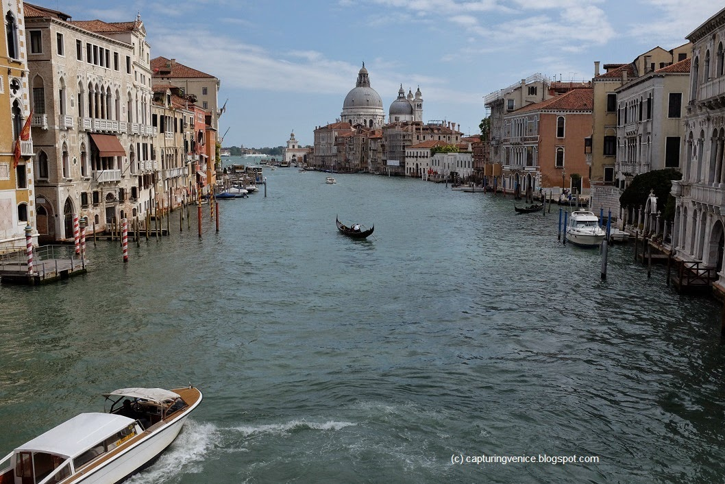 View of the Grand Canal looking towards Basilica della Salute from the Accademia Bridge in Venice from Capturing Venice blog