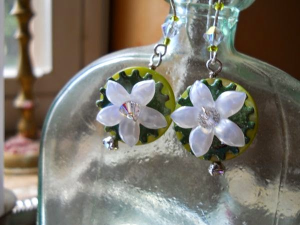 Silver, shell, enameled discs and lucite flower earrings