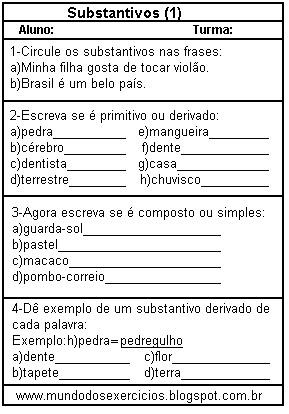 Substantivo primitivo derivado simples e composto