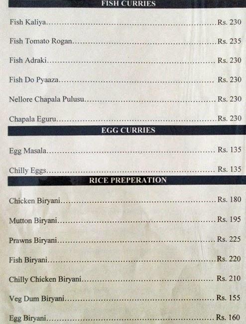 Veg Restaurants in Hyderabad Hotel Sadhvika Menu 12