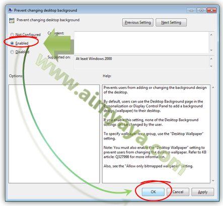 Gambar: Mengatur setting agar desktop background tidak bisa diubah/diganti