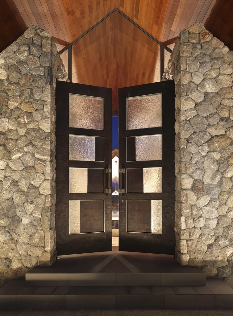 Entrance doors in Villa with contemporary Asian design