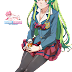 Tags: Render, Black Legwear, Green hair, Jitsu wa Watashi wa, Pantyhose, School uniform, Shiragami Youko