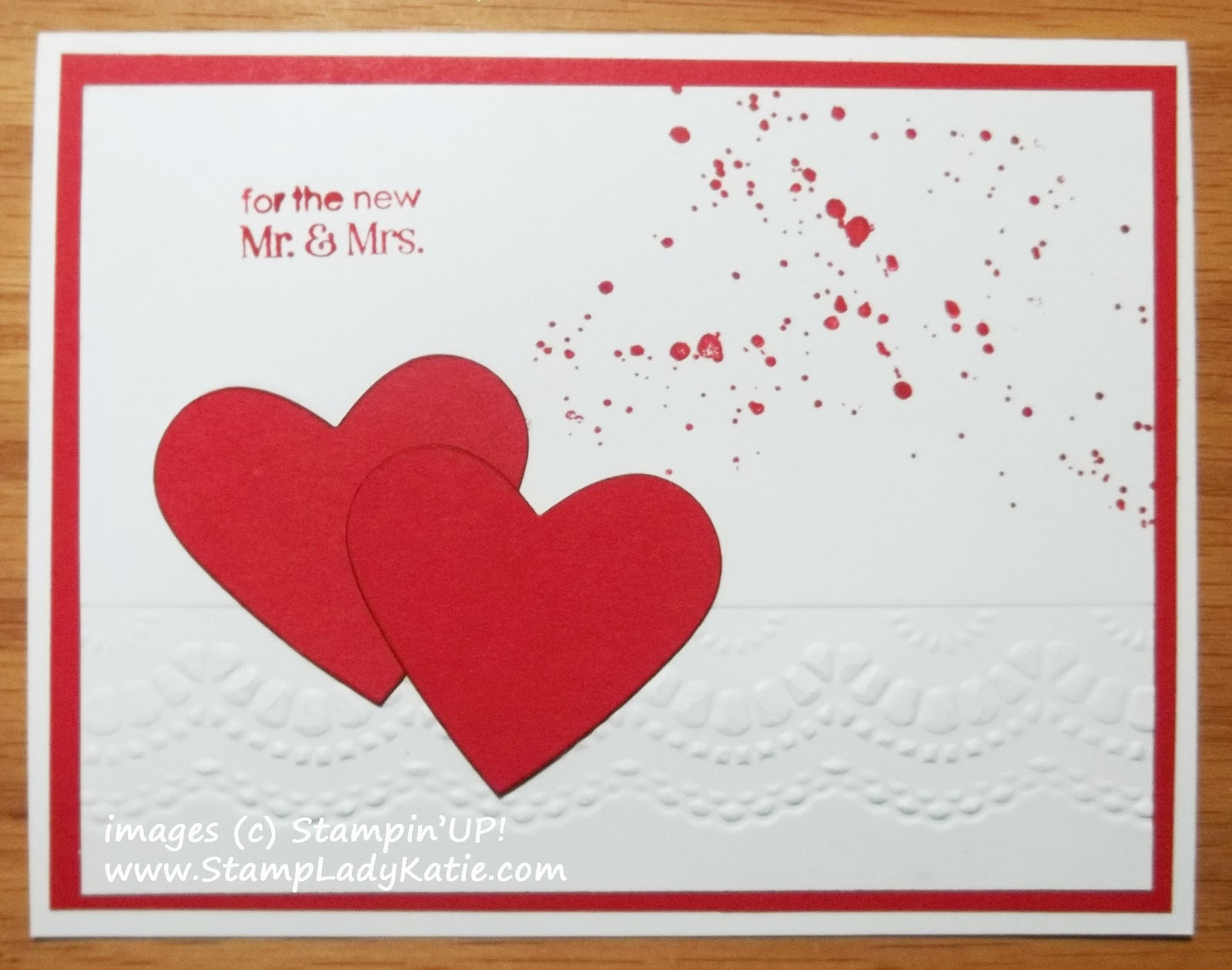 Valentine Card or Wedding Card with texture embossing using Stampin'UP!'s Delicate Designs Embossing Folders