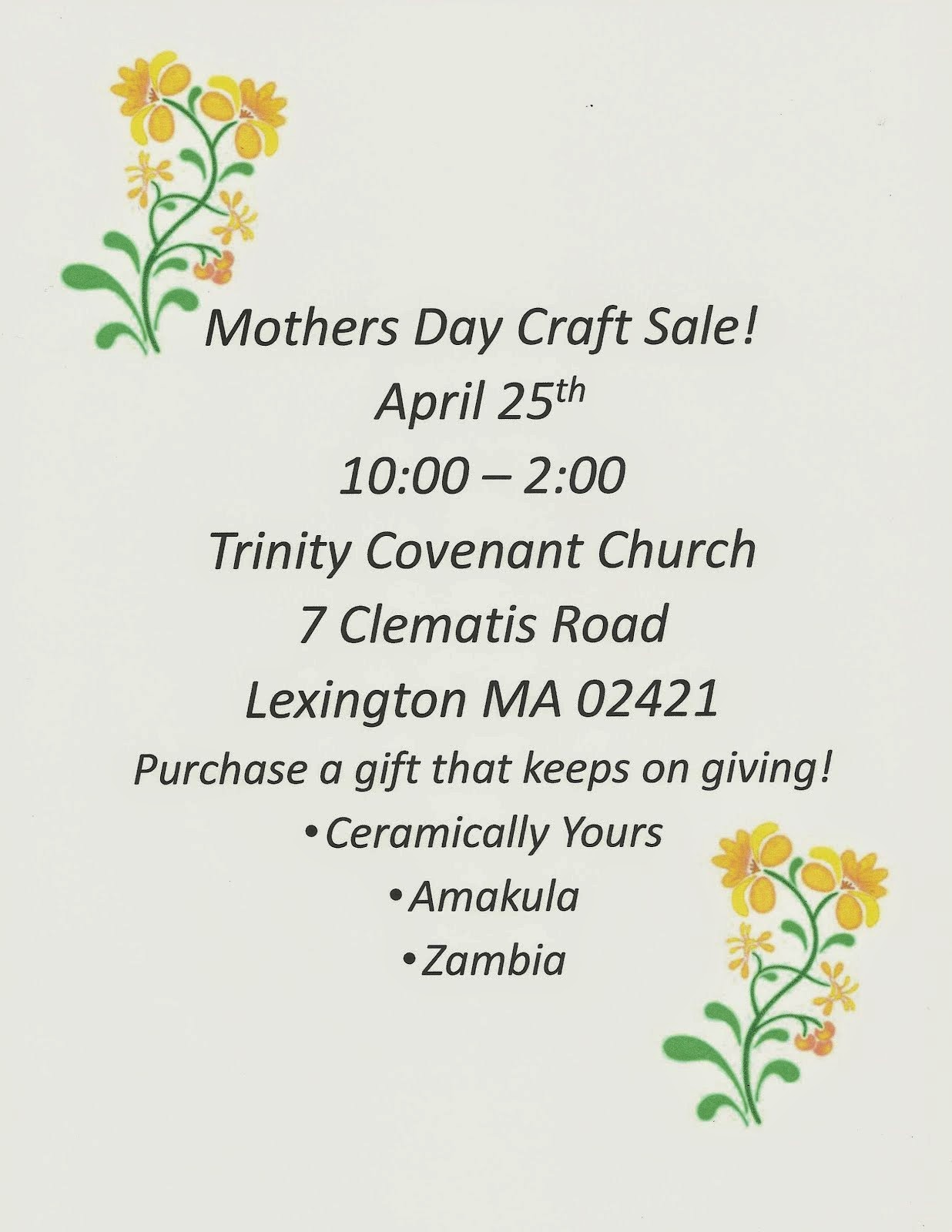 Mothers Day Craft Sale