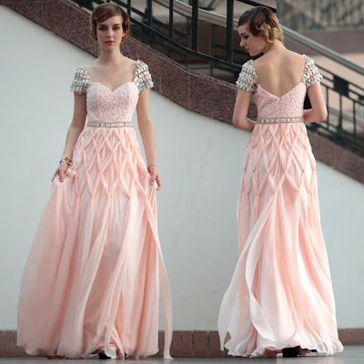 Light Pink Sweetheart Floor Length Dress with Cap Sleeve