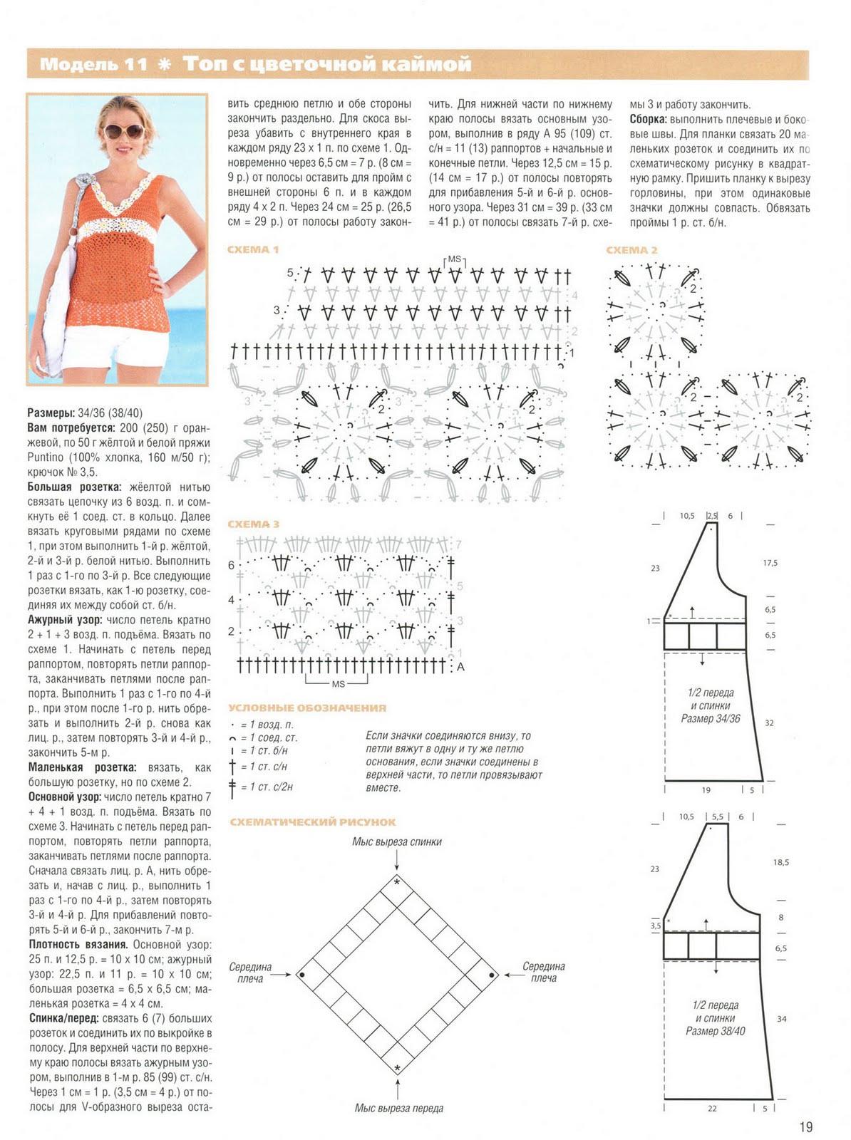 Модели и схемы вязаные топы крючком i