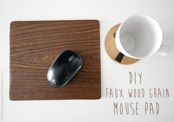DIY faux wood grain brown mouse pad  - Petite Apartment