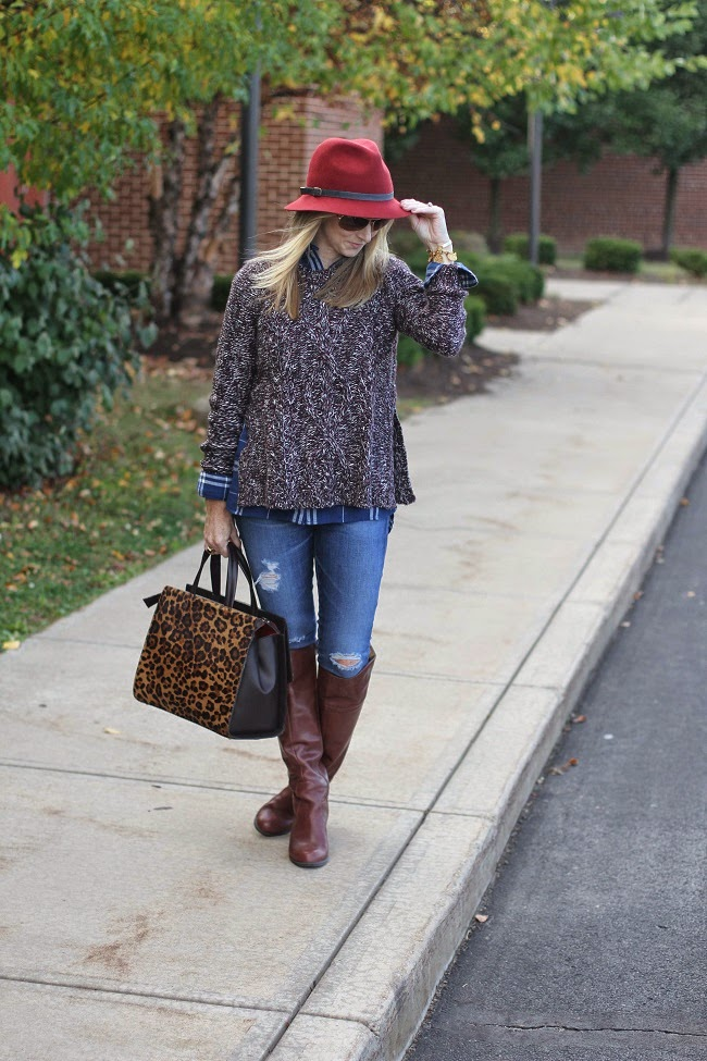 madewell plaid flannel shirt, madewell marled sweater, AG jeans, knee high boots, boden leopard handbag, eugenia kim fedora, ray ban sunnies