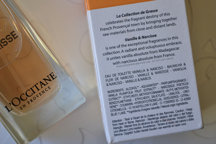 LOccitane Vanille Narcisse perfume EDT Eau De Toilette fragrance blog review ingredients