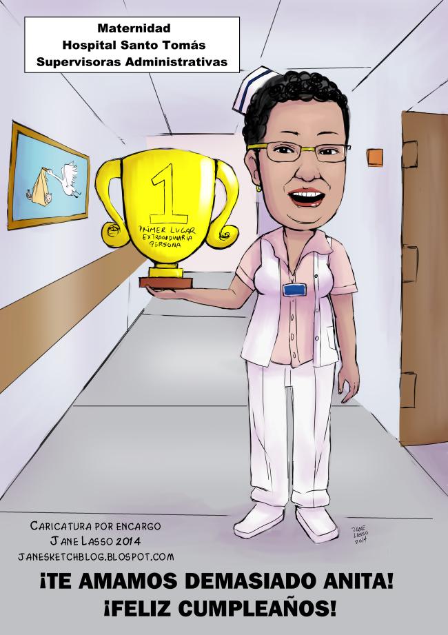 Caricatura digital para enfermera