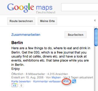 Google Maps Karte als KML-Datei exportieren