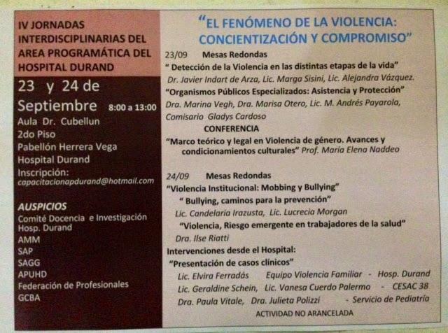 23 y 24 de setiembre. Jornadas Hospital Durand Violencia de género