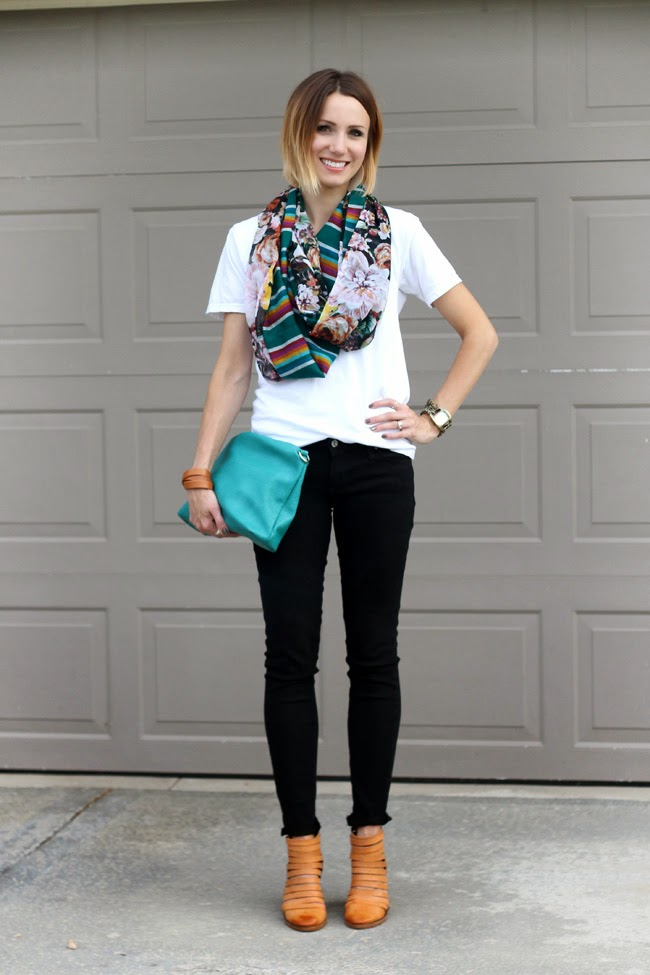 Multi Print scarf, black denim, teal clutch