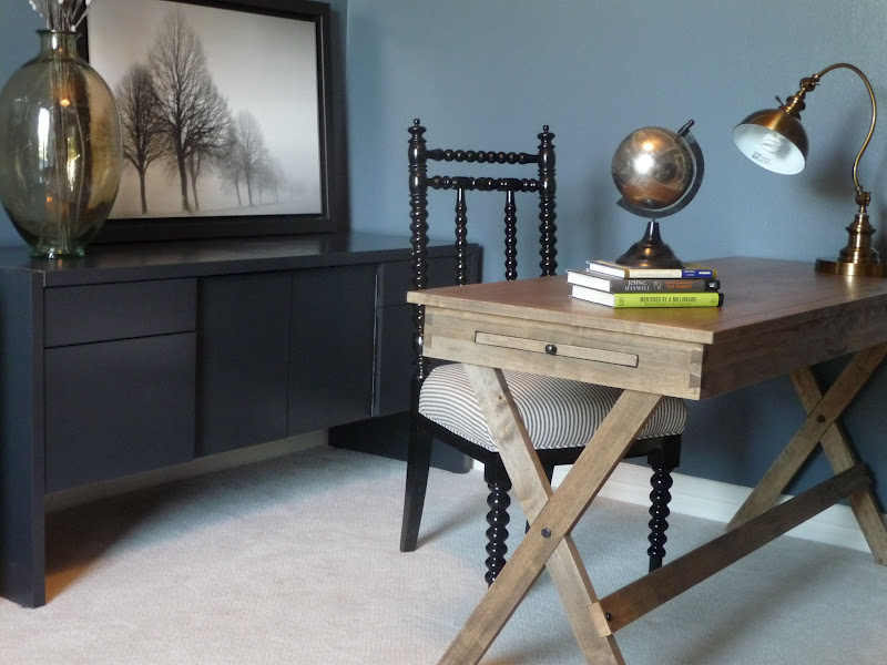 As You Can See, A Slimmer Desk In Wood Tones Was Purchased And Placed To  One Side Of The Room.