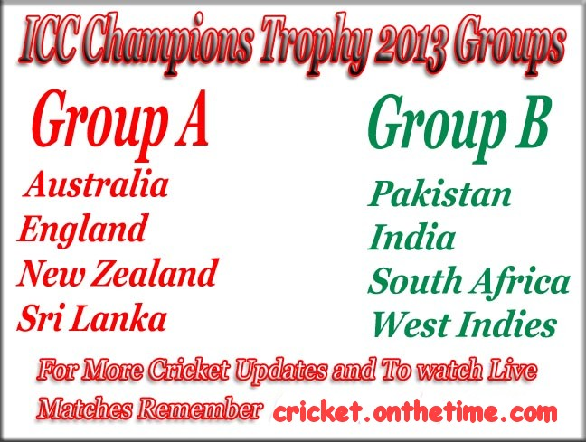 ICC Champions Trophy 2013 Schedule And Details