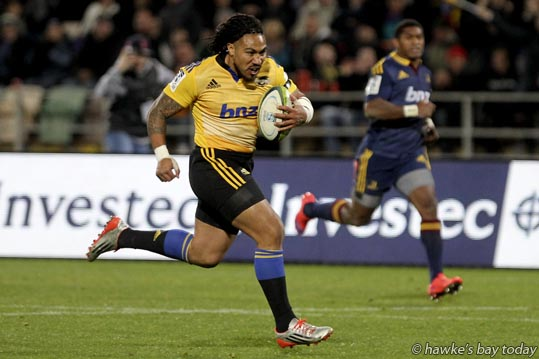 Ma'a Nonu scores a try for the Hurricanes, rugby vs Highlanders at McLean Park, Napier. photograph