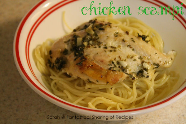 Chicken Scampi - a delicious, light dish served over pasta.