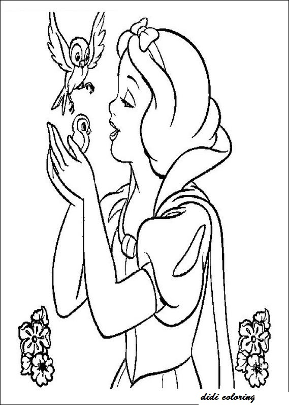 Printable Walt Disney Princess Snow White Singing Didicoloring Page For Girls