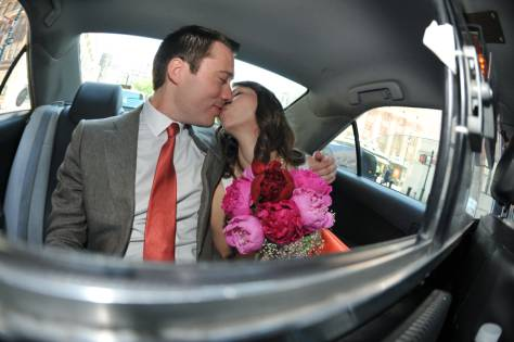 First Kiss - Newlyweds in the Cab over the Brooklyn Bridge