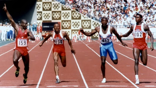 Ben Johnson, Calvin Smith, Linford Christie y Carl Lewis